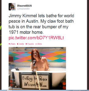 Jimmy Kimmel bathe with IN sane Man for world peace